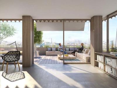 75013,  Paris Rive Gauche, high-end, 2 Bed, 95.9m2, facing N/E with Seine views from the + 14.2m2 balcony offering 110.1m2 (private space - see floor plan), state-of-the-art apartment, take the keys the beginning of  2024, bright & modern with optimized space, on the 8nd floor, of a residence offering all the essential comforts of todays lifestyle, close to the Jardin des Plantes.