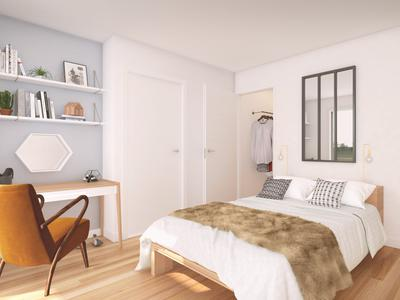 75013, two steps from the Seine, high-end 3 bedrooms corner apartment offering 76m2 + 16m2 SO facing terrace (see plan, 360 and video), bright & modern with optimized space ready to move in summer 2022, situated on the 4th floor of a contemporary building with its largely glazed façade.