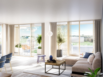 75015, Vaugirard - brand new 2 bed 1 bath, ideally south facing and offering 89m2 + 10m2 balcony (see floor plan), new and ready to move into spring 2024, bright & modern with optimized space, on the 5th floor of a residence offering all the essential comforts of today's lifestyle, close to close to all amenities: shops, services, nurseries and schools (see 360 views and video).