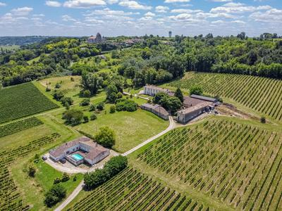 Beautiful 18th century CHATEAU - in perfect condition - with outbuildings, fully equipped modern winery, 2 separate houses, over 8ha of vines - Appellation Bordeaux Supérieur - in rental, possiblity to extend with 23 ha. Great potential for wine tourisme, B&B and wedding venue. Close to Saint-Emilion!