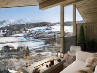 Epoustouflant T7 neuf de 176,91 m²  - plus 129.11m2 a moins de 1.80m à vendre à Combloux.  Situé au 3eme et dernier étage sous les combles, avec 2 balcons orienté est et ouest, dans une nouvelle résidence avec piscine et spa. Livraison prévue T4/2022