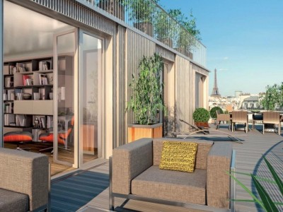 In Auteuil, 2 steps away from Bois de Boulogne, odern and bright 4 bedroom duplex Penthouse with panoramic terraces overlooking Paris rooftops in stunning new development ready to move in in 11 months time