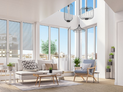 """Stunning views and high-end comfort and features, at the heart of the dynamic and picturesque 11th district, for this modern 3 bedroom """"atelier d'artiste"""" style 83m2 apartment gifted with a 8 sq m terrace in an atypical building with lift, located in the border of famous Le Marais"""