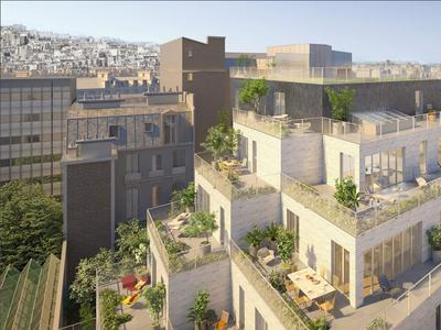 At the foot of vibrant Montmartre, stunning high-end 4 bedroom triplex of 144m² living space with 44m² terraces on 3 levels, offering the comfort of rooftop terraced house in a secluded pyramidal project immersed in the green heart of a modern landscaped courtyard