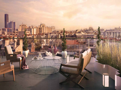 Bathed in light and ideally located in a walking distance from famous Rue d'Alésia, stunning 2 bed 'Artist's Studio' Style apartment offering 63 m² surrounded by 21 m² of balconies  overlooking Paris rooftops from the 7th floor of a modern new development