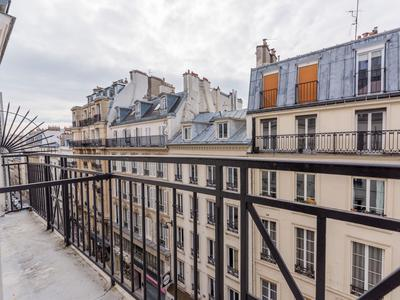 LOT 13 - 75003 Peaceful environment in the sought after Republique district, bright 4th floor 84m2 + 9m2 wrap around balcony two bedroom South facing apartment to renovate, at the heart of a well looked after 1880 stone building with elevator