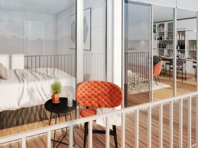 PARIS 18th at the foot of Montmartre, contemporary apartment of 2 rooms (T2) offering 55 m² & 12 m² terrace, ideally South-East oriented , with acoustic and thermic comfort, on the 6th floor of a modern building, Ordener-Poteau district