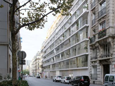 PARIS 18e au pied de Montmartre, appartement contemporain de 2P (T2) offrant 55 m² & 12 m² terrasse, idéalement orienté Sud-Est, avec confort acoustique et thermique, au 6e étage sur jardin d'un immeuble moderne, secteur Ordener-Poteau