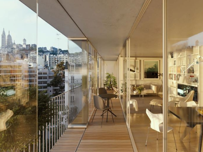 PARIS 18th at the foot of Montmartre, contemporary architecture for this apartment of 5 rooms (T5) offering 115 m² & 25 m² terrace, ideally South-East oriented , with acoustic and thermic comfort, on the 7th floor of a modern building, with unobstructed view on famous and spectacular Sacré Cœur basilica