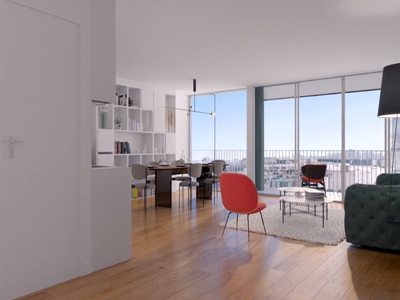 75018 views towards the Sacre Coeur for this high-end 4 bedrooms SE/NW facing apartment with terraces (5 rooms - 2 bath - see floor plan and video) offering 128m2 + 27m2 outside space, bright & ultra-modern with optimized space with its largely glazed façades. Includes 2 parking spaces.