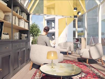 75013, two steps from the Seine, high-end 2 bedrooms apartment offering 60m2 + 8m2 SW balcony (see plan, 360 and video), bright & modern with optimized space ready to move in summer 2022, situated on the 2hd floor of a contemporary building with its largely glazed façade.