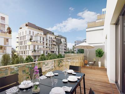 92130 Issy-Les-Moulineaux/Town Hall -  a high-end Corner 5 Beds of 137.28m2 + 34m2 of terraces, 2 parkings in addition (see Plan+360° view), Facing N/W, offering beautifull outdoor spaces and all today's life conforts, on 1st floor of an avant-garde building and ready to move into in 30 months time.