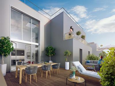 92130 Issy-Les-Moulineaux/City hall - a high-end 3 Beds Duplex of 113,56m2 with 25,42m2 terrace, cellar, 2 parkings in addition, (see Plan+360°), N/O facing, offering outside space, modernity and comforts, on the 8th and last floor of a contemporary building and ready to move into in 30 months time