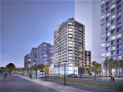 75013, near François Mitterand library, high-end, 1 living room, 1 kitchen, 2 bed,1 bath, SO facing state-of-the-art apartment  + 7.69 m2 and 3.2 m2  balconies offering 73.70 m2 (private space - see floor plan), ready to move into at the end of the third quater of 2022, bright & modern with optimized space, on the 7th floor, street side, of a residence offering all the essential comforts of modern life