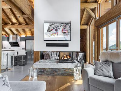 Extraordinary 5-bedroom luxury ski chalet for sale, impeccably finished and nestled in a tranquil hamlet of Saint Martin de Belleville, with beautiful outdoor space offering sweeping views out over the valley- 3 Valleys