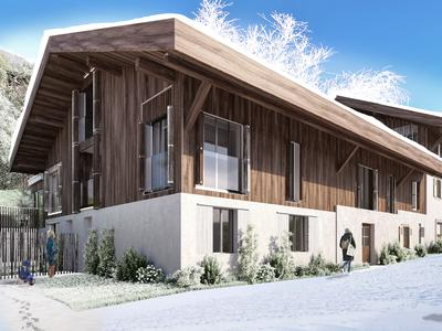 Exceptional new build 4/5 bedroom triplex apartment for sale in a renovated traditional farmhouse from the 18th century in the old quarter of Morzine centre